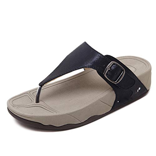 CRBHSH Womens Sandals Wedges Platform T-Strap Peep Toe Flip Flop Bohemian Beach Open Toe Slingback Ladies Summer Shoes,Black,38 T-strap Platform Wedges