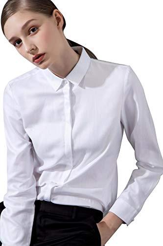 Camicia basic da donna in cotone manica lunga - camicetta casual blusa chiusura bottoni slim formale elegante - camicia shirt con colletto dritto, ideale per ufficio/lavoro/colloquio (eu44, bianco)