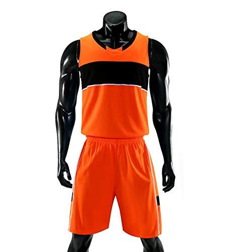 Basketball Jersey Herren Erwachsene Retro Shorts Und Jersey Basketball Uniformen Tops & Shorts 1 Set,Orange,XS