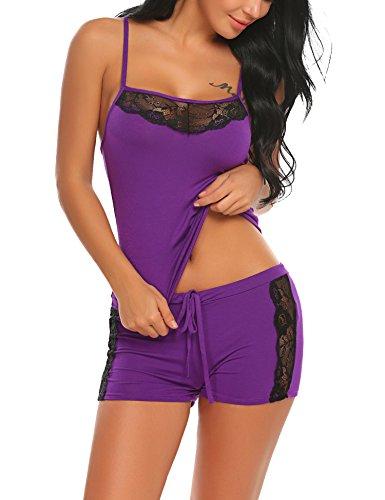 ADOME Damen Schlafanzug Nachthemd Sommer Kurz Pyjama Shorty Spitzen Nachtwäsche Negligee Set mit Verstellbaren Trägern, A-lila, XL -