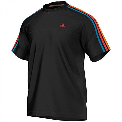 adidas Essentials 3S - Maglietta a maniche corte da uomo, girocollo - Nero / arancio