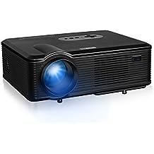 """Excelvan CL720D - HD Proyector LED 1080P (3000 Lumenes, 1280 x 800P hasta 1080P, DVB-T HD, Proyeccion 25"""" - 260"""", 2000:1, 22 Idiomas, Videoproyector con Interfaz de Entrada HDMI VGA USB, VGA, AV; Altavoz), Negro"""