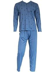 Herren Schlafanzug Pyjama Zweiteiler lang 2-tlg mit V-Ausschnitt Nr. 4661