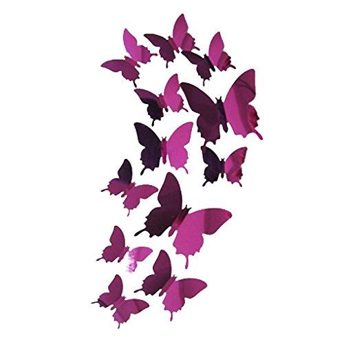 Kolylong 1 Set / 12 PC-3D Schmetterlinge Wandspiegel Aufkleber DIY Home Dekore (Hot Pink )