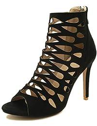 69babe2c Botas de Tobillo Tacón Alto de Mujer de Gran Tamaño de Cuero Stiletto con  Cremalleras Slip