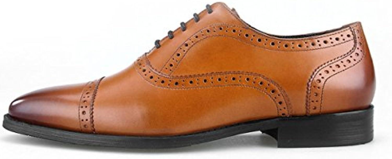 DHFUD Herren Handgefertigte Lederschuhe Schuhe Leder Herrenschuhe Brown 38