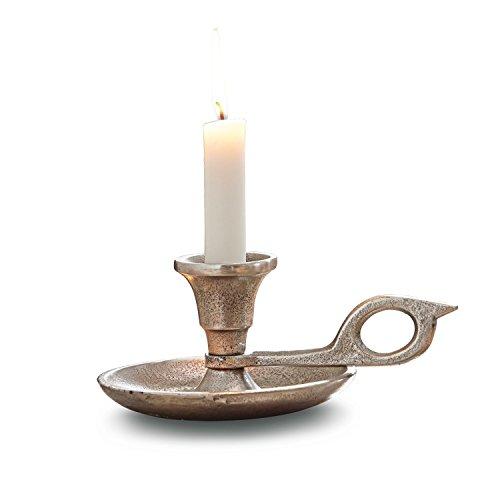 LOBERON Kerzenständer Aida, Dekoration, Aluminiumguss, H/Ø ca. 10/13 cm, antiksilber