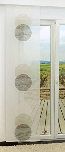 Schiebegardine von LYSEL® - Venn halbtransparent mit Kreisen in den Maßen 245 cm x 60 cm grau/beigegrau