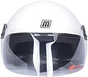 Mango Open Face Helmets (Clear) (White, Large)