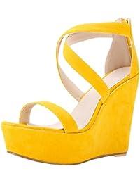 WanYang Femme Chaussure Mode Sandale Plateforme Femme Corde Talon Compensé Plateforme Été Des Sandales