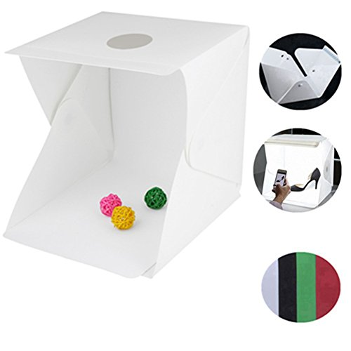HMMJ Fotozelt Tragbar Fotostudio Set mit LED Leuchte, Beweglicher Heller Raum Kasten der Fotografie Zelt-Kit Leuchte Fotobox, Beleuchtung inkl. 2 Hintergrund. (Weiß, Schwarz) (40x40x40cm)