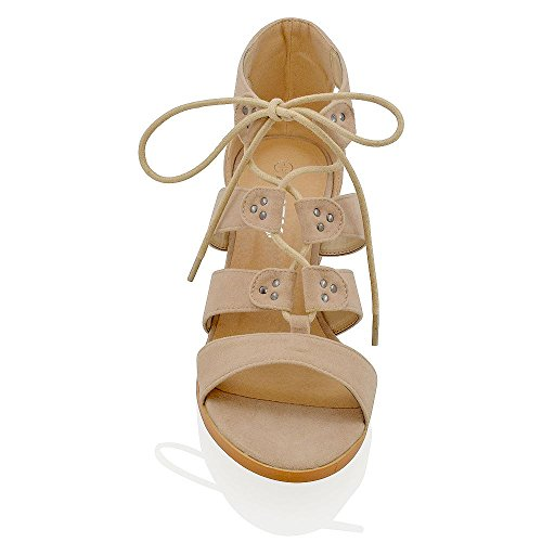 Essex Glam Sandalo Donna Sintetico Tacco Basso con Lacci Carne Ecopelle Scamosciata