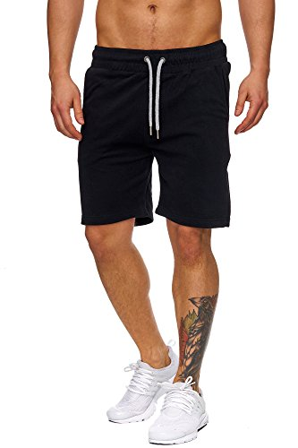 TAZZIO Herren Sweatshort Jogginghose Fitnesshose Traininghose Sweatpants Sporthose Freizeithose 17600 Schwarz S (Sweat Shorts Herren)