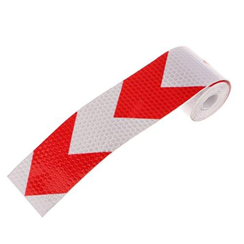 Reflectante de Visibilidad Alerta de Cinta Engomada Flecha Advertencia Seguridad - Rojo Con Blanco