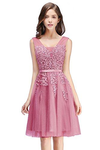 Mädchen Prinzessin Tüll Cocktailkleid Applique Abendkleid mit Schnürung kurz Altrosa 38