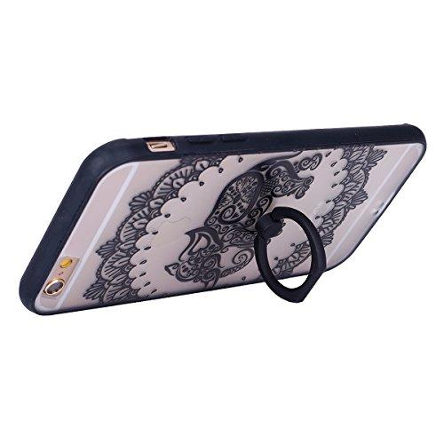Coque iPhone 6 Plus/6S Plus, iPhone 6S Plus Coque en Silicone bord [Ultra Hybrid] Transparent Housse Etui, iPhone 6 Plus Silicone bord Coque Clair Ultra-Mince Relief Slim Plastique arrière Étui Motif  Noir-éléphant