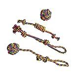 DIYARTS 4 Packs Chien Corde Jouets Ensemble Pet Chew Rope Ball Tressé Coton Noeud Interactive Jouet Dents Nettoyage Chiot Chat pour Petits Et Moyens Chiens...