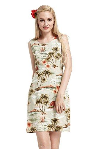 Hecho-en-Hawai-Mujer-hawaiano-Luau-Vestido-de-tanque-Palms-Houses-Barcos-de-todo-en-Gris-S