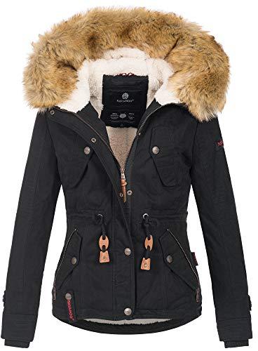 Navahoo warme Damen Designer Winter Jacke Winterjacke mit Kapuze und Teddyfell B643 [B643-Pearl-Schwarz-Gr.M]