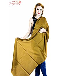 Originals Kashmir 100% Pure Handmade Pashmina Golden Brown Color Stole