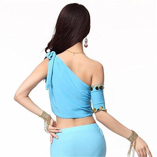 Women Sexy Dance Tops Bauchtanz Costume One Shoulder Tops Sequins With 1 Arm Sleeve Short Dancewear Light Blue