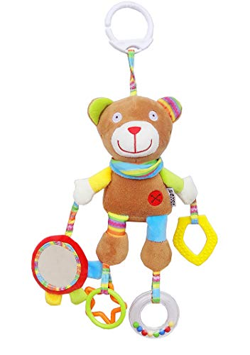 Rclhh Passeggino per Bambini e Neonati, Peluche Vibrante Dotato di Clip Aggancio Universale e Massaggiagengive,Sonaglio Neonato, 0 Mesi +,Bear