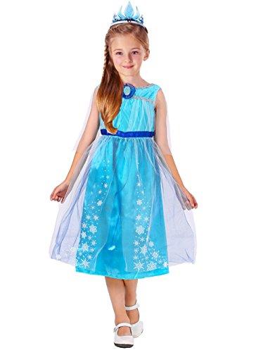 D'amelie Eiskönigin Prinzessin Kinder Kleid Mädchen Kostüm Weihnachten Verkleidung Karneval Rollenspiele Party Halloween Fest