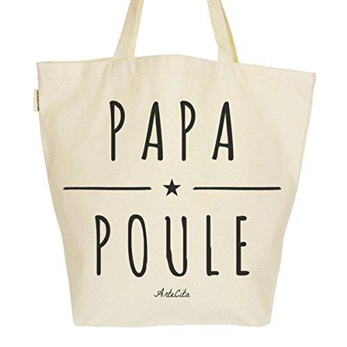 Grand Sac Cabas Fourre-tout Imprimé Toile Bio 37x45x20cm Tote Bag XL - Papa Poule