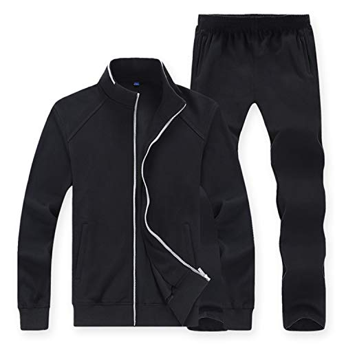 Sweatsuit Jacke Hose (Meaningg 2019 Frühlingsherbst Männer Sporting SSet Jacke + Hose Sweatsuit 2-teilig Sportswear Trainingsanzug Herren-Set Kleidung 8XL)