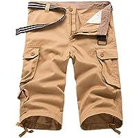 Hibote Pantaloncini Cargo da Uomo Cotton Pantaloncini Cargo Corti Esterni da  3 4 Pantaloni Pantaloncini 67b2fda93fb