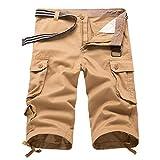 junkai Lässige Herren Twill Cargo Shorts Sommer Mode Sport Strand Reisen Taschen Capri Camouflage Shorts Hosen
