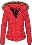 Navahoo warme Damen Winter Jacke Stepp Winterjacke Kurzjacke gefüttert B625 [B625-Saranaa-Rot-Gr.M]
