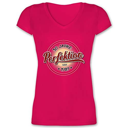 Geburtstag - 30 Jahre Perfektion seit 1989 - M - Fuchsia - XO1525 - Damen T-Shirt mit V-Ausschnitt