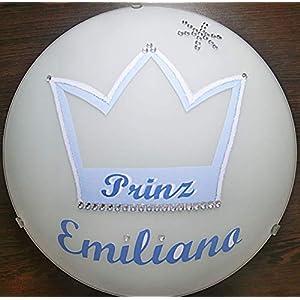 Deckenleuchte/Wandlampe * KRONE blau 2 Prinz Stern Strass * auch LED – mit/ohne Name