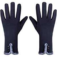 GLOUE Magic Women Gloves 3 Button Thermal Weather Lined Thick Hand Warmer Winter Gloves Lady Full Finger Micro Fiber Mittens Lace Pattern Wear Mittens …