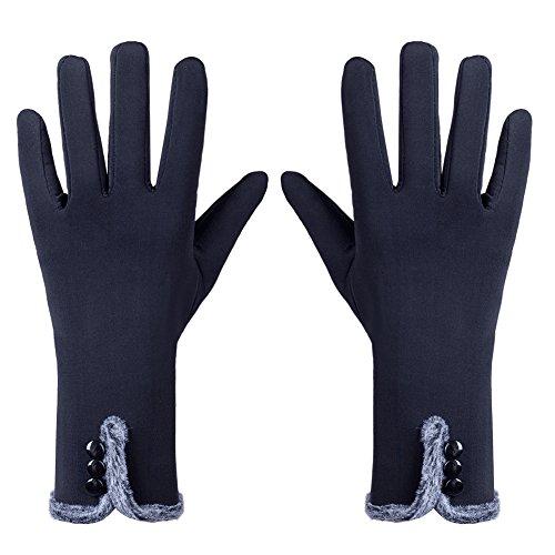 GLOUE Warme Handschuhe Winter Handschuhe Seide Handschuhe Damen Touchscreen Handschuhe Radfahren Motorradfahren Innen Outdoor Schwarz