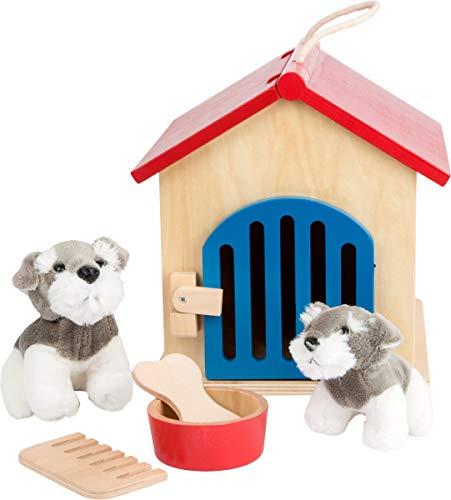 small foot Company 6115 solide Hundehütte aus Holz mit Zwei weichen Hundebabys, inkl. Fressnapf, Kamm, Knochen Spielzeug