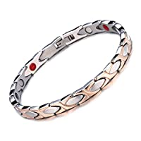 Rose Gold Color Stainless Steel Chains Germanium Magnetic Bracelets For Women Men Energy Balance Health Care Unisex Jewelry