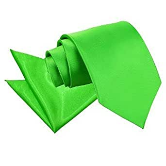 New DQT Satin Men's Apple Green Tie and Pocket Square
