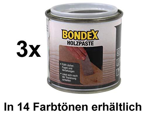 Bondex Holzpaste Holzkitt Reparaturpaste zum ausbessern von Risse Löcher Kratzer Laminat Parkett Möbel und Holz (3x 150g Dose, eiche dunkel)