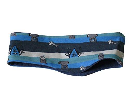 Fitzibiz Stirnband Baumwoll-Jersey, Sterne, Streifen, Motive, Uni (80, Blau (Mario))