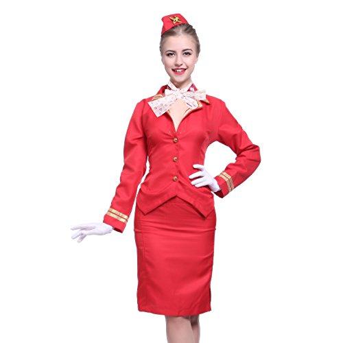 Sexy Rot Gr.L Stewardess Flugbegleiterin Flugkapitaen Damen Kostuem Party Karneval Halloween