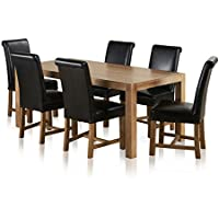 2e315c09c896 Alto Natural Solid Oak Dining Set - 6ft Table with 6 Braced Scroll Back  Black Leather