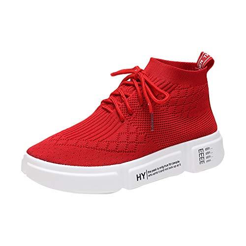 BHYDRY Muffin unten fliegen gewebt Stoff kleine weiße Schuhe einfarbig atmungsaktiv sogar Socken Schuhe (39,Rot) -