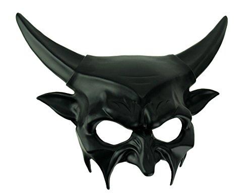 Männer Hades Kostüm - KBW Global Corp Halbmaske Teufel, Schwarz glänzend