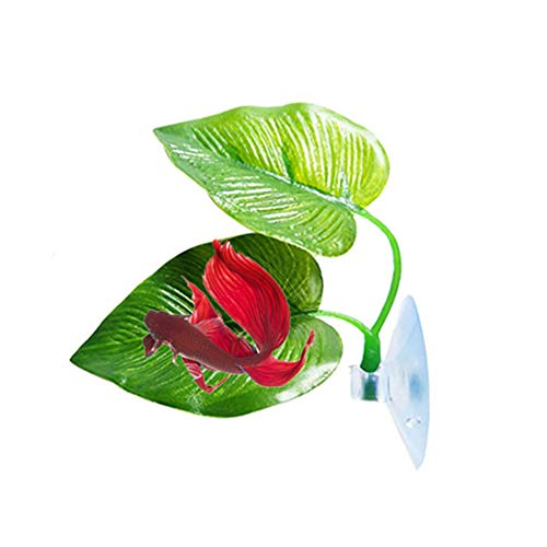 BONNIO Schwimmendes Blatt-Aquarium-Aquarium pflanzt grünes Wasser-Gras dekorative künstliche Betta-Blätter (Wasser Betta)