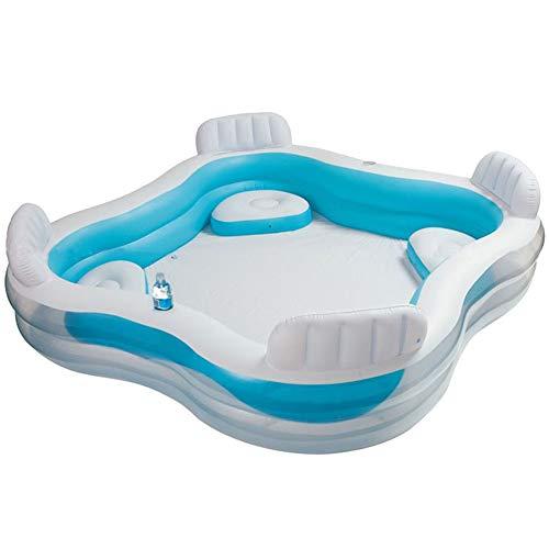 GCGC Family aufblasbares Schwimmbecken, aufblasbares Schwimmbecken mit Sitzlehne, faltbares Sommerkinderspielbecken, für Familien geeignet, im Freien