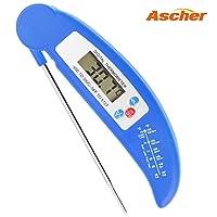 Ascher Küchenthermometer / Digital LCD Haushaltsthermometer/ Digitales Küchenthermometer Einstichthermometer für Kochen, BBQ, Steak, Braten, Lebensmittel (Blau)