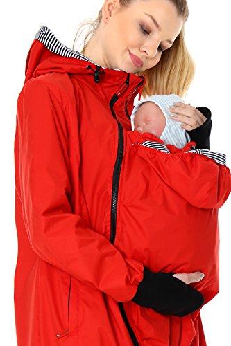 GoFuture Damen Tragejacke für Mama und Baby mit 2 Tragepositionen 5in1 Känguru aus Concordia Shell und Baumwolle SommerAmMeer GF2066 Rot mit marineweissen Streifen