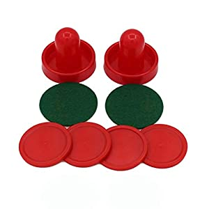 Sanzhileg Startseite Standard Mini Air Hockey Ersatz 60mm 2 Pusher Goalies 4 Pucks Filz Set für Spieltische Ausrüstung – Rot 60mm